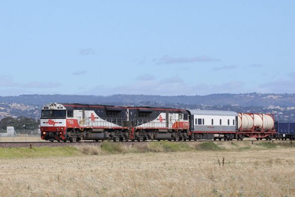 SCT015 and SCT006 leads a crew car and online refuelling tanker on the SBR/SCT ore train