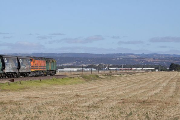 Loaded GWA grain heads for port, with the Adelaide Hills in the background
