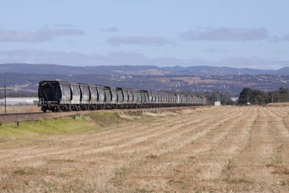 Tail end of the GWA grain, made up of a mix of new and old hopper wagons