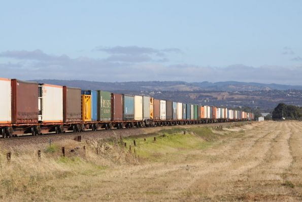 The orange container wagons stretch off towards the Adelaide Hills