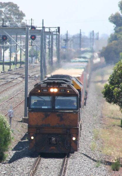 NR77 and BL35 on Melbourne bound AB6 freight at Laverton