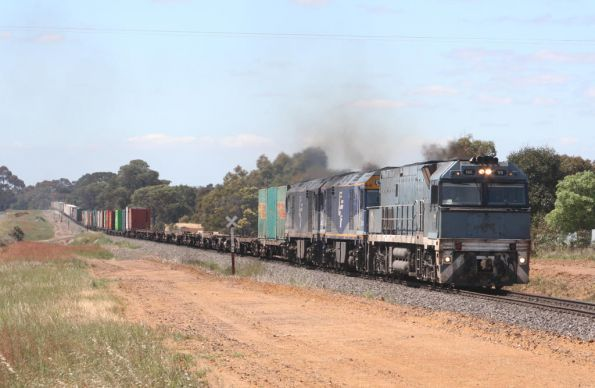 SteelLink liveried NR59, GL105 and GL108 westbound departing Inverleigh