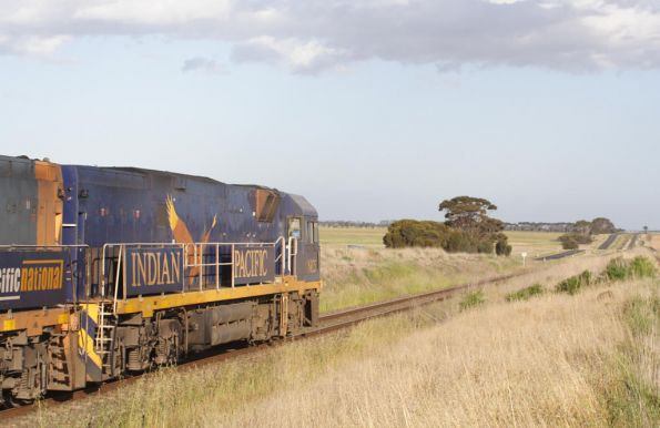 Indian Pacific liveried NR25 leads a freight towards Wingeel loop
