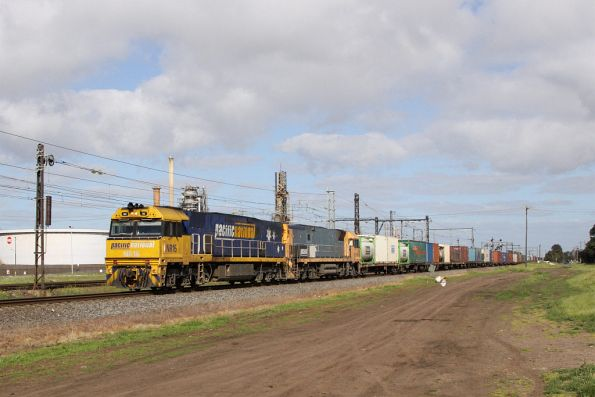 NR16 leads NR18 on AM5 on the up at Altona Junction