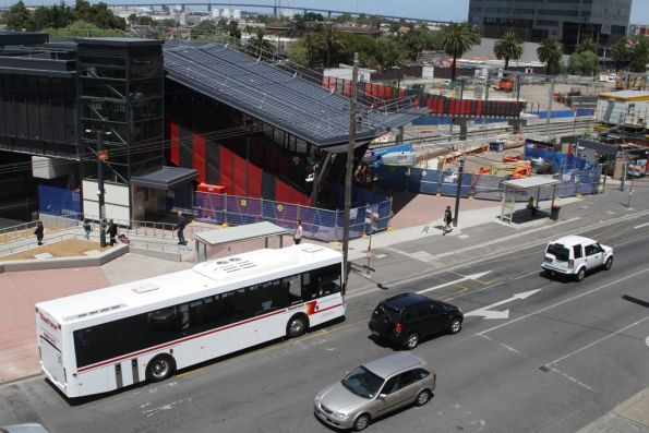 Westrans bus picks up passengers outside Footscray station