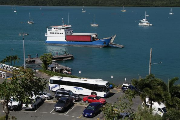 Whitsunday Transit bus departs Shute Harbour, bound for Airlie Beach