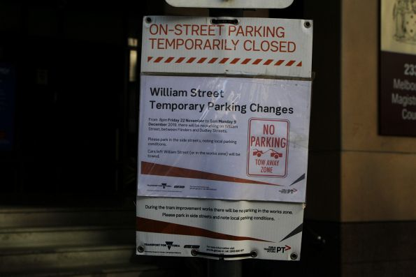 temporary parking changes' signage on William Street before the big track relay works
