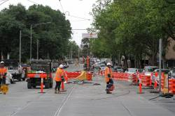 Old track still in place north of La Trobe Street for now