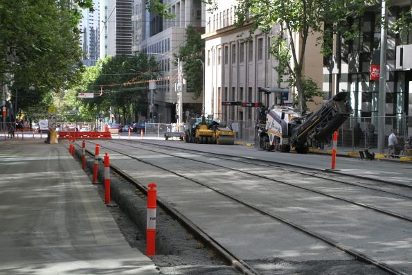 Almost completed tram tracks north of Collins and William Street