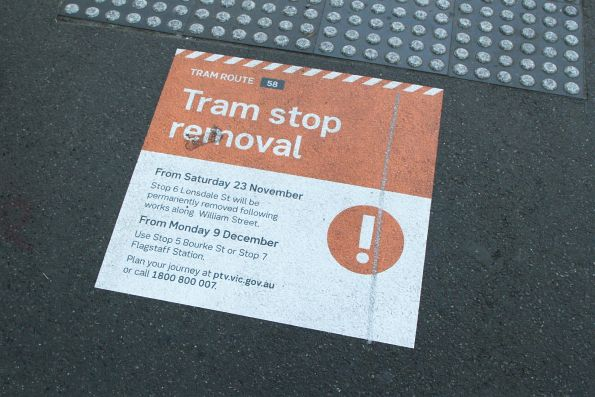 'Tram stop removal' at stop 6 William and Lonsdale Street