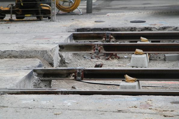 Connection between new and old rails at William and Bourke Street