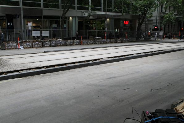 Bluestone kerbing to keep cars out of the tram lane at William and Little Collins Street