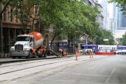 Concrete pour for the bluestone kerbing beside the tram lane at William and Collins Street