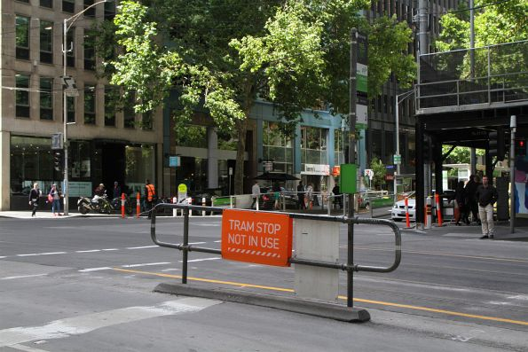 Safety zone tram stop remains at William and Collins Street