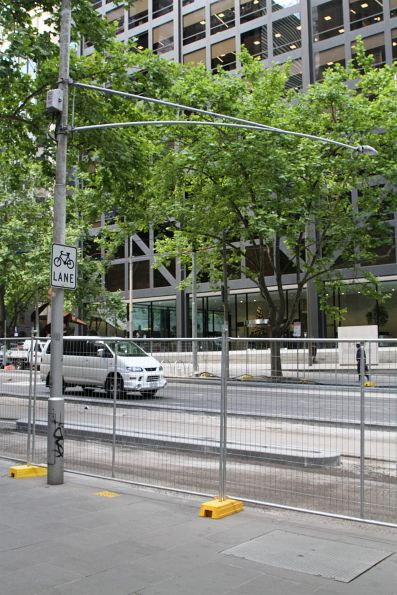 Safety zone prowl floodlight still in place at William and Bourke Street