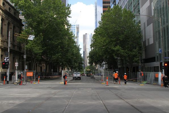 Completed tram tracks south of Lonsdale and William Street