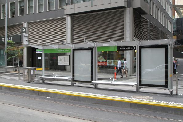 Incomplete tram stop shelter at William and Bourke Street