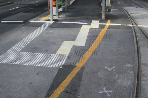 Relocated tactile paving at the corner of William and La Trobe Street