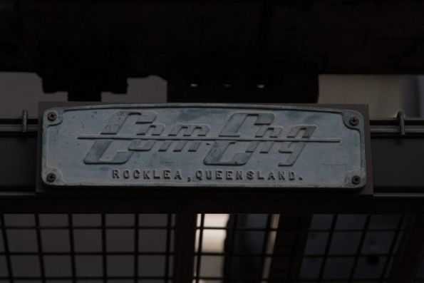 Builders plate from the Comeng works at Rocklea