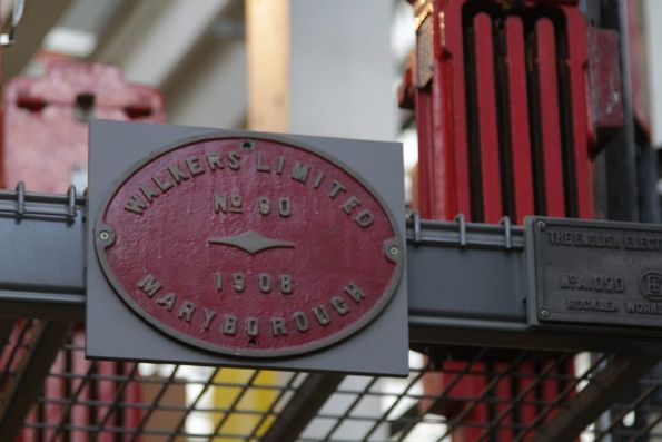 Builders plate from the Walkers Limited works at Maryborough