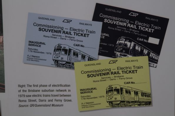 Collection of souvenir railway tickets for the inaugural electric train service in Queensland