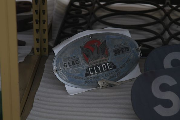 Clyde builders plate for GL8C locomotive 63-278