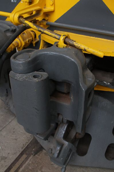 Knuckle coupler in the closed position, with the pin dropped