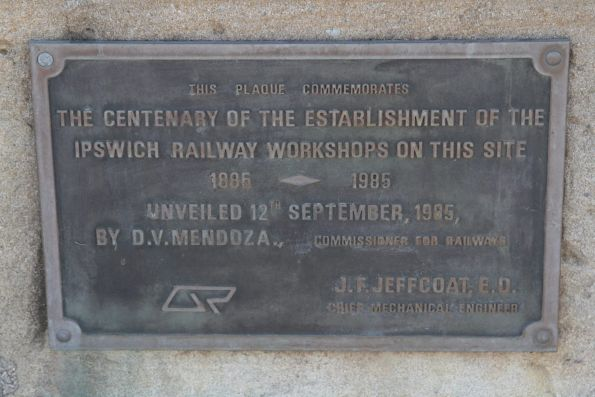 Plaque marking the centenary of the Ipswich Railway Workshops in 1985