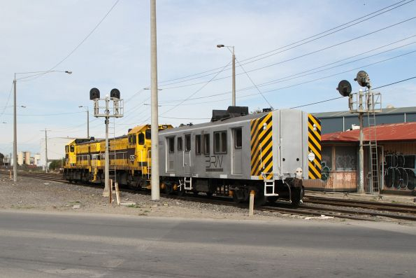 T385 leads T386 and van BVDY52 on the down at Brookyn bound for Ballarat