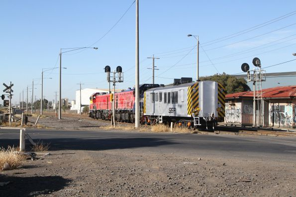 P17 leads P18 and power van BVDY51 through Brooklyn, headed from South Dynon to Newport