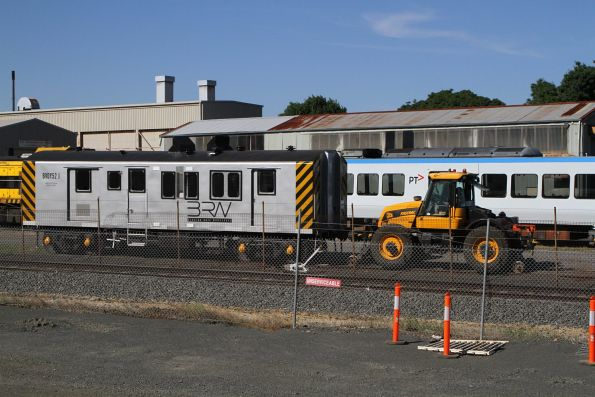 Power van BVDY52 is shunted by a hi-rail tractor at Ballarat North