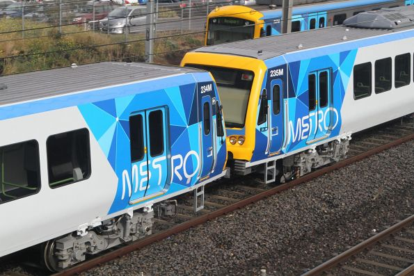 Brand new X'Trapolis trains 234M and 235M coupled together