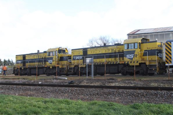 T381 and T363 ready to lead the train out of the Ballarat North Workshops