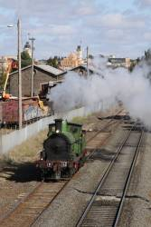 Y112 departs for Geelong light engine, leaving behind home at Ballarat East
