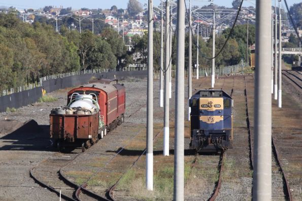 T356, water tanker, coal wagons and crew cars stabled at North Geelong Yard