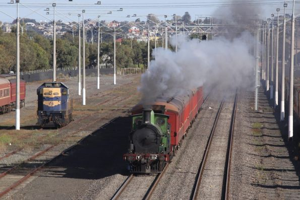 Shuttle passing T356 at North Geelong Yard