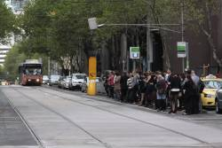 Packed tram stop for route 55 at William and Bourke Streets