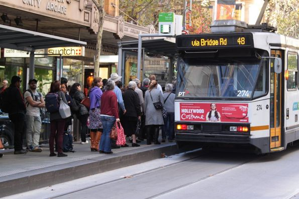 Queue of passengers waiting to board an A class tram on Collins Street