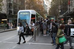 Overcrowded tram stop at Collins and Swanston Street