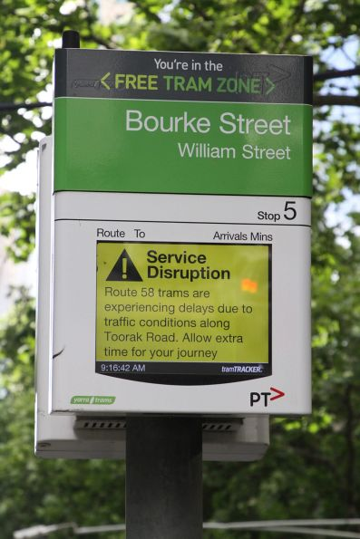 Route 58 trams in the CBD are delayed due to traffic congestion on Toorak Road