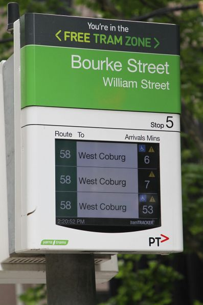 45 minute gap between northbound route 58 services along William Street