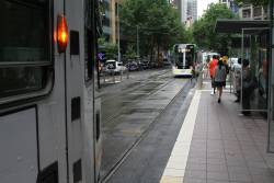The platform stop at Collins and Spencer Street is only long enough to fit a single E class tram