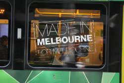'Made in Melbourne for Melbourne' decals peel from the window of E.6008