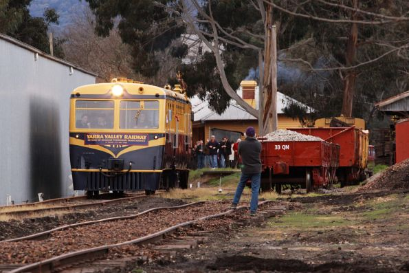 RM22 trundles out of Healesville yard on the 'first' run