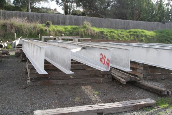Refurbished bridge spans in the yard at Yarra Glen station