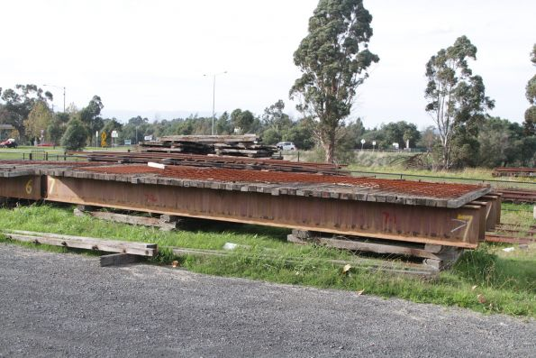 Yet to be refurbished bridge spans in the yard at Yarra Glen station