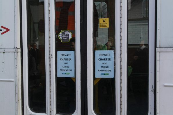 'Private Charter: not taking passengers' notice on the tram doors