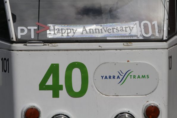 'Happy Anniversary' sign in the window of Z2.101