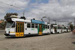 All three subtypes of Z class tram - Z3.145, Z2.101 and Z1.22 at the route 57 terminus at West Maribyrnong