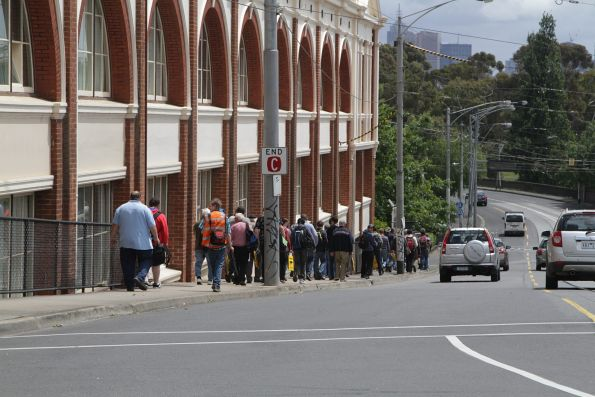 Tour passengers head towards Hawthorn Depot for lunch